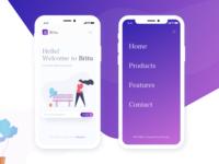 Britu - Landing page mobile version