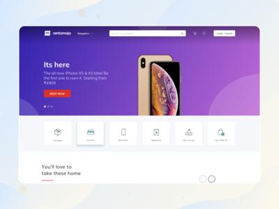 Rentomojo new homepage design