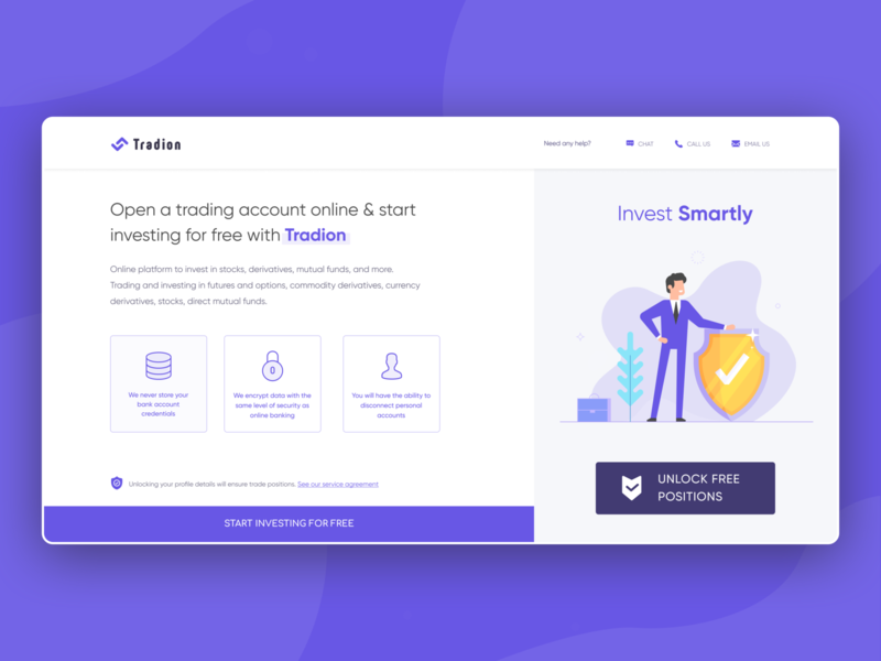 Welcoming users to complete their profile for trade in Tradion visual design mutual funds share investments stockmarket trading trade webdesign websites motion landing page illustration web website ux clean interface ui design kyc