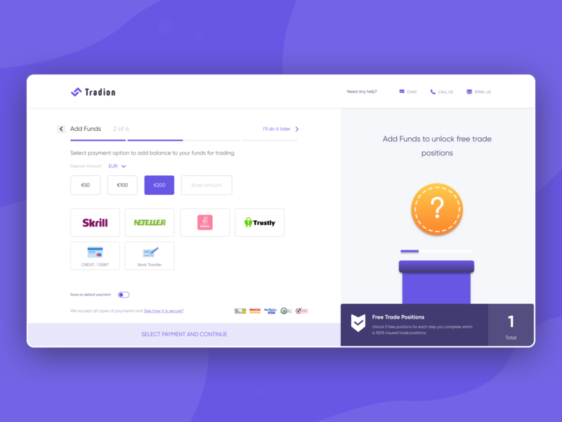 Payment options to add funds for trading payment page finance banking share market trading trade payment method pay funds add funds payment animation illustration web website ux clean interface ui design
