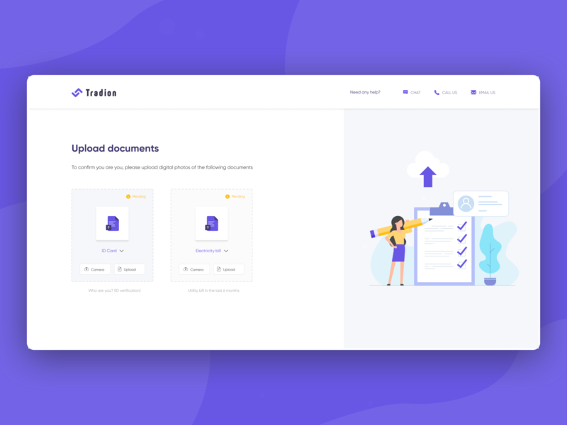Step to upload documents to earn additional free trade positions document unlock website design gradient stockmarket stock trading trade kyc animations motion landing page illustration web website ux clean interface ui design
