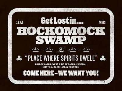 Hockomock Swamp tee bridgewater audiodrama podcast folklore type design typography halftone illustration