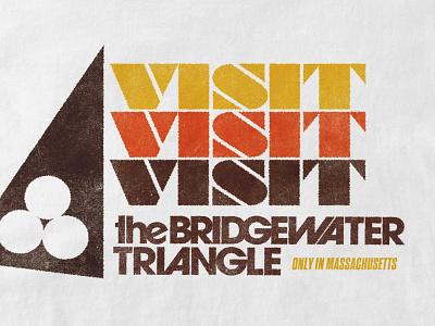 Visit the Bridgewater Triangle 80s retro tee audio drama folklore type design typography halftone illustration