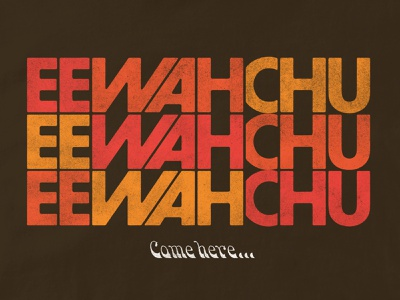 Ee Wah Chu... podcast 80s retro audio drama folklore type design halftone illustration