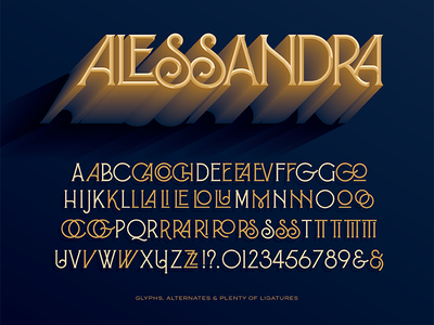 Alessandra art nouveau art deco typography type font