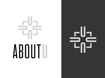AboutU typography sans serif symbol logo