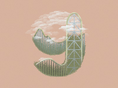 9 is for Kingda Ka in the Six Flags number 36daysoftype 36daysoftype07 illustration art illustration dribbble rollercoaster