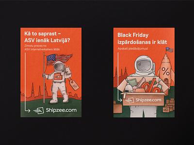 Shipzee campaign in Latvia billboard design billboard illustration art design illustration branding dribbble