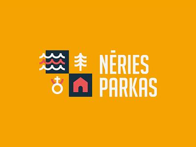 Nėries Parkas square housing kaunas house forest river illustration logotype design brand mark branding logo