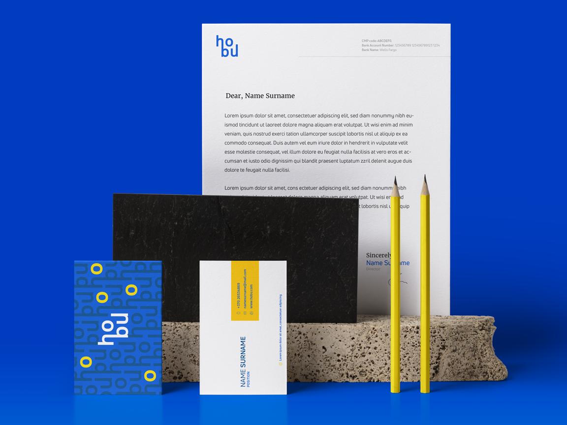 HoBu documents icon stationary vilnius identity housing illustration dribbble minimal logotype brand design mark branding logo