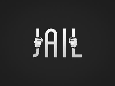 Jail black  white challenge locked cell bars wordplay jail mark logo