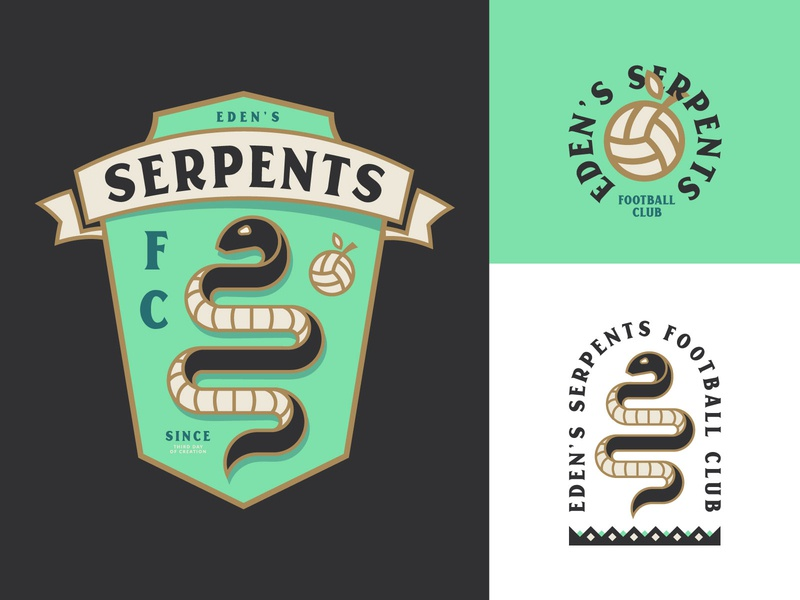 Eden's Serpents geometric geometry logo football club eden apple fantasy club emblem snake ball serpent football