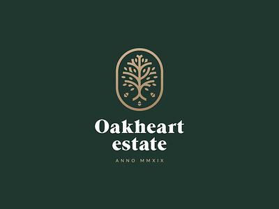 Oakheart Estate geometric branches leaves gold green oak tree housing acorn tree oak minimal branding mark logo