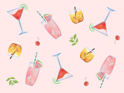Summer cocktail pattern illustration