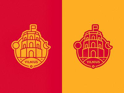 Vilnius sticker lineart hometown town city gediminas yellow red sticker tower castle vilnius dribbbleweeklywarmup