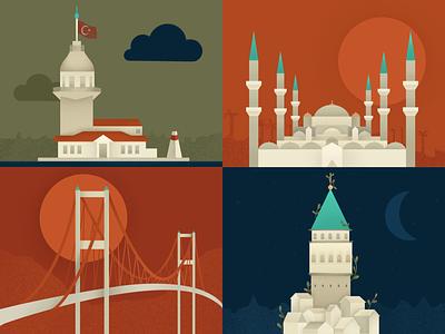 Istanbul Illustration turkiye turkey istanbul bosphorus sultanahmet galata kizkulesi tower bridge mosque city illustration skyline cityscape buildings city illustration dribbble design mark