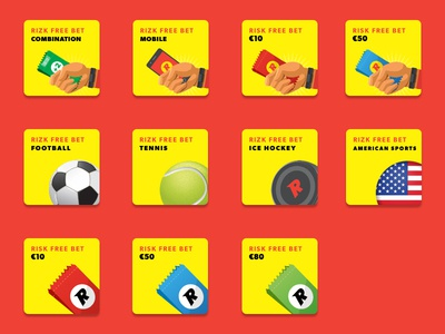 Rizk Sportsbook Free Bet Products Icons illustrator icon sports icon design sports ui design ui design ui design sportsbook rizk sportsbook