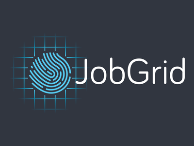 JobGrid Logo - Final Version logo blue grid job fingerprint simple touch