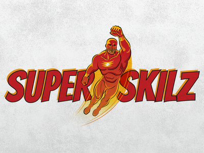 SuperSkilz Logo version 1 logo red orange superhero comic retro