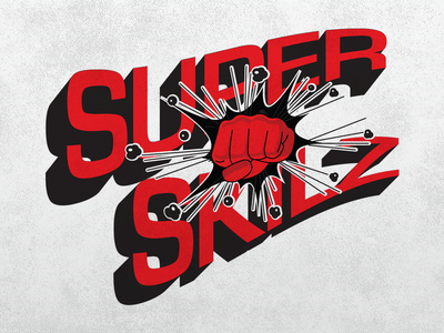 SuperSkilz Logo version 2 logo red black superhero comic retro fist punch