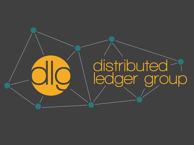 DLG Logo version 1 on dark background logo orange teal circle model distributed web molecule