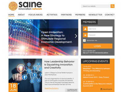 Saine Homepage grey black orange blog slider network innovation homepage websites