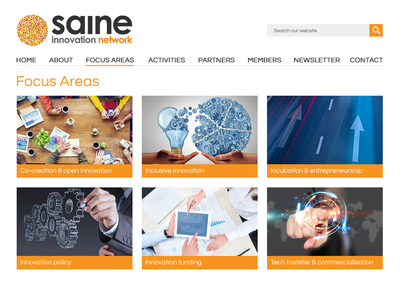 SAINe - Focus Areas grey black orange blog network innovation websites