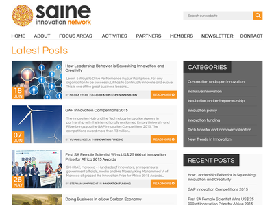 SAINe - News Page news grey black orange blog network innovation websites