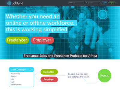 JobGrid Hompage freelancer employer emplyment innovation technology red green grey blue job homepage website