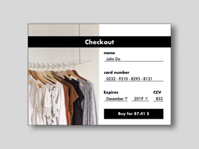 DailyUI #002 - Credit Card Checkout form ui checkout 002 dailyui