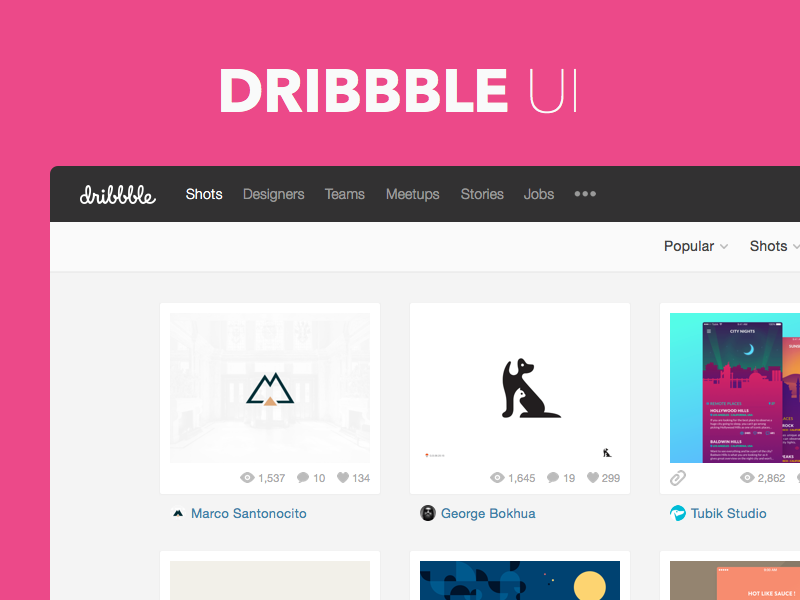 Freebie Sketch: Dribbble UI template free download photoshop flat clean ui freebie sketch