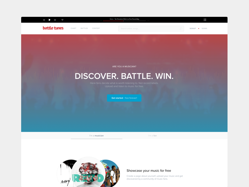 Battletunes - Landing Page (above the fold) website ux ui above the fold music landing page startup landing