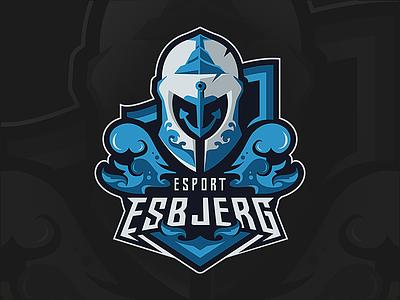 ESPORT ESBJERG sports logo blue water illustrator illustration ocean waves knight esbjerg logo esport mascot