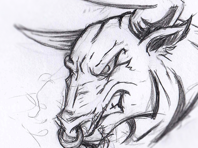 Angry Bull sketch badge design vector animal logo illustration horns taurus ox cow angry gaming esport mascot bull drawing sketch