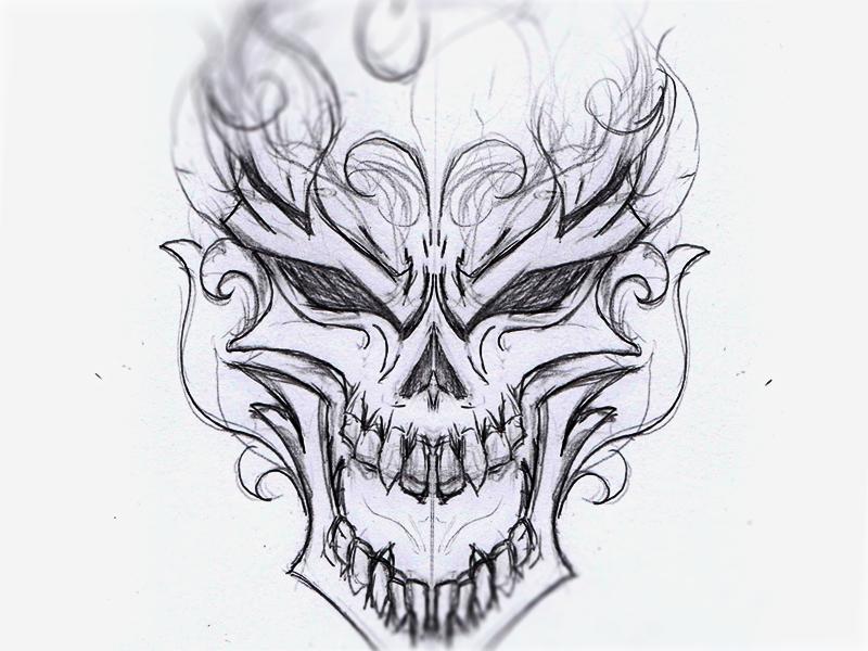 burning skull sketch by benjamin lips248 on dribbble