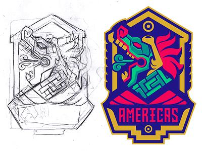 Aztec Badge Design logo esport vector drawing illustration badge mascot medieval dragon snake mayan aztec