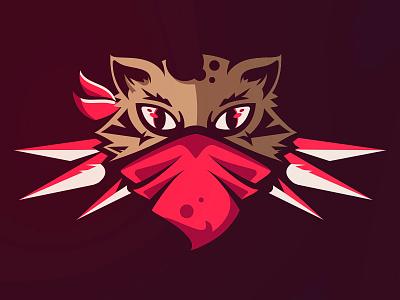 Bloodlust Cat hunter blood bandana logo sports esport illustration tiger mask mascot cat