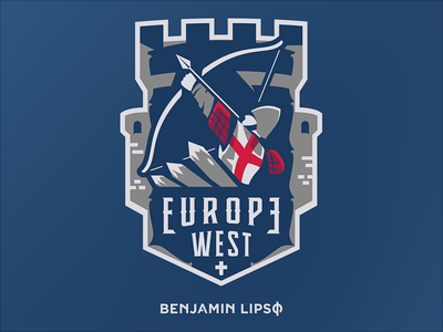 Europe West Badge Design mascot esport drawing illustration badge medieval arrow bow hunter archer longbow longbowman