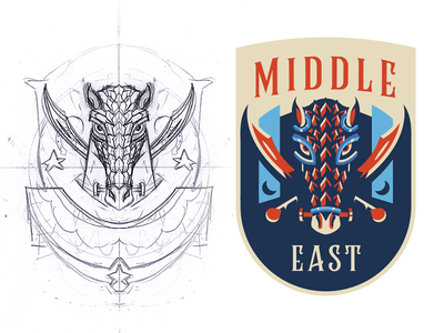 Middle East Badge Design armor saber horse cavalry medieval mascot badge illustration drawing vector esport logo