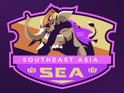 Southeast Asia Badge Design vector lotus medieval armor mascot logo illustration esport drawing elephant badge asia