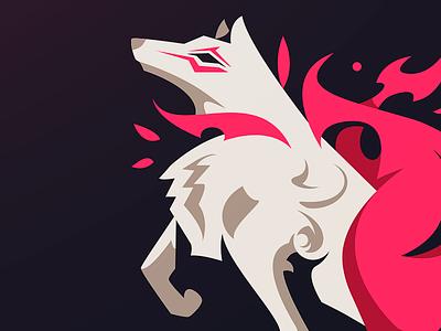 OKAMI (wip) videogame asian sportslogo illustration mystical beast esport mascot vector japanese wolf okami