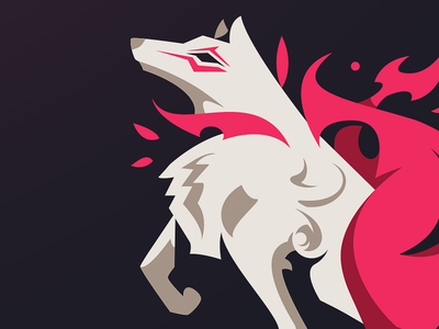 OKAMI (wip) videogame asian sportslogo illustration mystical beast esport mascot vector japanese wolf okami