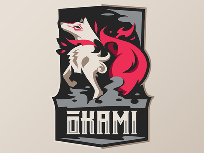 OKAMI smoke mascot sportslogo fire japan badge illustration esport vector wolf okami