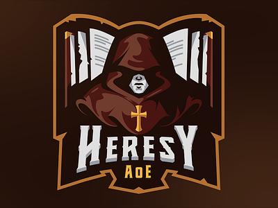 Heresy AoE esports sketch badge gaming mascot sports illustration medieval monk vector esport logo