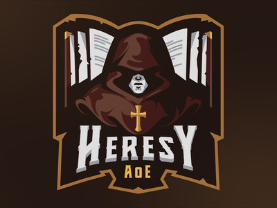 Heresy AoE esports sketch badge gaming mascot sports illustration medieval monk vector esport logo