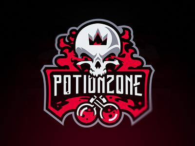 PotionZone alchemy skull logo vector smoke toxic esports logo minecraft potion skull badge esport mascot sportslogo twitch branding sport logo esportlogo esport mascot logo gaming