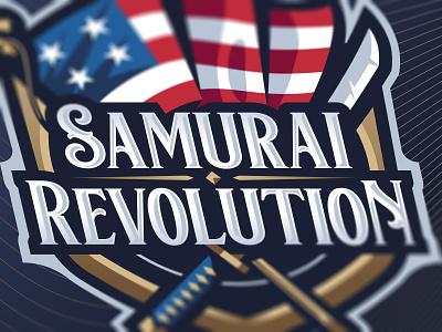 Samurai Revolution Wordmark badge gaming illustration revolutionary serif medieval branding and identity branding twitch streamer esports esport age of empires wordmark logomark text mascot logo revolution saumrai