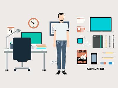 Survival Kit vector illustration flat