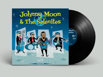 Johnny Moon And The Selenites 7 vinyl single 50s rockabilly illustration vectorial affinity designer
