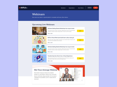 Webinars Landing Page landing page web ui ux clean ui webinar nonprofit website ui design